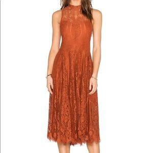NWT Free People Lace Trapeze Dress in Copper